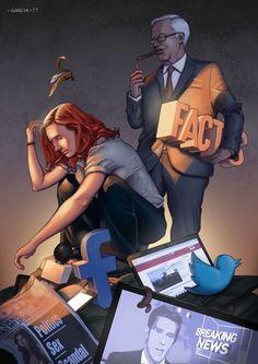 Art by Daniel Garcia (Illustration Media and Facts Newspaper Internet TV Facebook Tweeter News Fake Capitalism)