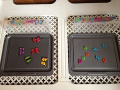baking trays, pieces tray below attached with cable ties through drilled holes - do this in our Home Command Center w/ our chore & routine magnets.