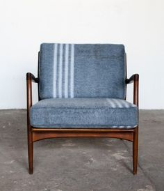 "Another in the Sit and Read ""blanket chair"" series. The stripes look like strips of sunshine and work really well with the gray. $1600"
