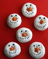 Easy holiday treat!  I made thesee with mini powdered doughnuts.  Not perfect but easy:  I used mini chocolate chips for the mouth (upside down), candy corn for the carrot nose and black cake gel for the eyes.
