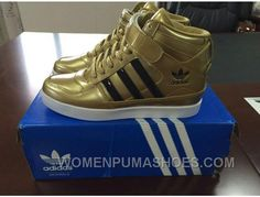 Now Buy Adidas High Top Women Gold Lastest Save Up From Outlet Store at Pumaslides. Adidas High Tops, Pumas Shoes, Adidas Sneakers, Puma Original Shoes, Sports Shoes, Buy Shoes, Shoes Online, Adidas Originals, Casual