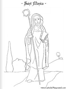 Saint Monica Catholic coloring page for kids to color.  Feast day is August 27th.