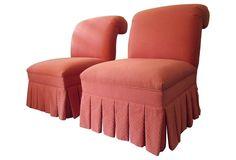 One Kings Lane - Shore It Up - Raspberry Slipper Chairs, Pair