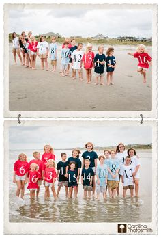 Sixteen cousins in a lineup. Numbered shirts, color coded by family. Cute!