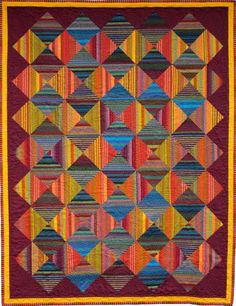 Striped Fabric Quilt by Janis Benedict--could do as string quilt Plaid Quilt, Striped Quilt, Striped Fabrics, Scrappy Quilts, Easy Quilts, Quilting Projects, Quilting Designs, Quilting Ideas, Orange Quilt