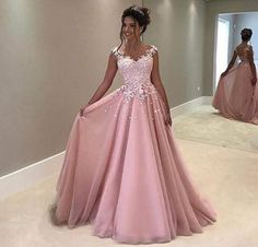 Charming Sweetheart Lace Applique Long Prom Dress,Pink Chiffon Ball Gowns,Women Formal Dress