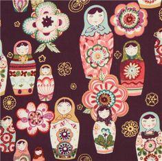 aubergine Alexander Henry matryoshka fabric Nadya