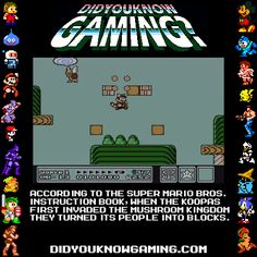 """Community Post: 20 Astounding Gaming Facts From """"Did You Know Gaming"""". Well, that just ruined a good chunk of my childhood. Gaming Facts, Video Game Facts, Pokemon, Smosh, The Villain, Super Mario Bros, Nintendo Games, Legend Of Zelda, Wii U"""
