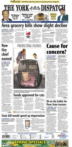 York Dispatch front page for April 9, 2012