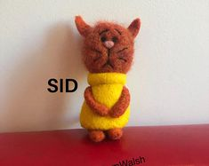 Needle Felted Soft Sculpture Gifts by on Etsy Needle Felted Cat, Needle Felted Animals, Felt Animals, Felt Gifts, Quirky Gifts, Felt Cat, Soft Sculpture, Crazy Cats, Gifts For Friends