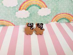 Polymer Clay Cookie Bear Stud Earrings on Etsy, $7.00