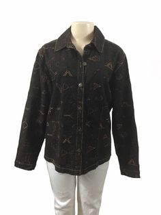 Chico's Black Wash Embroidered Embellished Button Front Denim Jean Blouse Size 2 | eBay