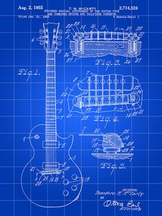 Les Paul Guitar Patent                                                     Inventor: Theodore M. McCarty                                                    Aug. 2, 1955                                                                     Filed: Jan. 21, 1953                                                            •Fine Arts Print /gl