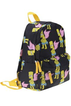 """Shop """"Wings Simpson"""" Black Backpack at ROMWE, discover more fashion styles online. Black Backpack, Backpack Bags, Fashion Backpack, Awesome Backpacks, Travel Items, The Simpsons, Prince Charming, Baggage, Bart Simpson"""