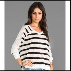 We The Free striped sweater Cream and black striped sweater, perfect Spring addition to your FP wardrobe, only trading for FP. Bundle for discount Free People Sweaters