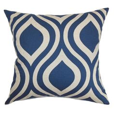 Cotton accent pillow with a blue and white geometric motif. Made in the USA. | $42.95