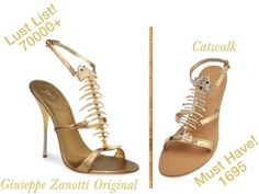 Giuseppe Zanotti launched the fish bone heels. It had a golden base with a metallic T-strap in the form of a fish bone skeleton, encrusted with crystals.