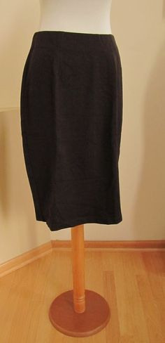 New Eileen Fisher Ponte Knit Pencil Skirt S Dark Brown stretch Viscose Straight #EileenFisher #StraightPencil