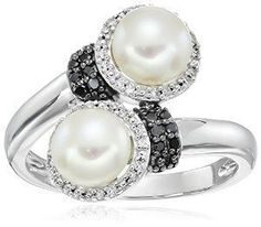 Sterling Silver Freshwater Double Pearl Diamond Ring (1/10cttw, I-J Color, I2-I3 Clarity), Size 7 available at joyfulcrown.com