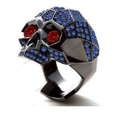Fright Night 3.8/9Ct.W.T Blue Sapphire Halloween Rock Shooter Skull Fashion Ring #br925 #SkullRing