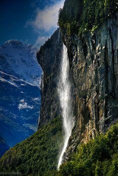 Staubbach Falls, Lauterbrunnen, the Bernese Oberland, Switzerland