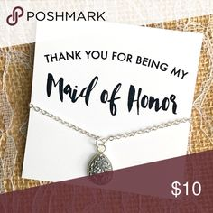 "Maid of Honor Thank You Gift Thank You For Being My Maid of Honor - Bridesmaid Gift  - Silver druzy Necklace - NWT -10mm x 14mm Teardrop Druzy  -18"" silver necklace  - necklace is individually boxed and wrapped Shop Austla Jewelry Necklaces"