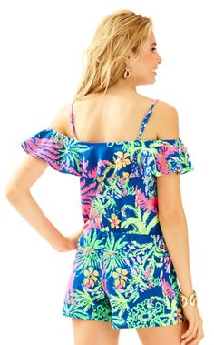 The Klea Romper is a knit off the shoulder romper with flounce. Think beach getaways and fun adventures in this knit romper.