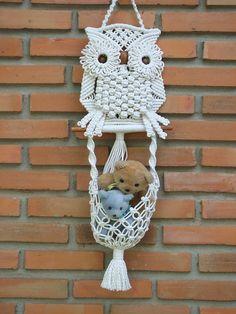 White Owl e il suo muro di nido Macrame appeso