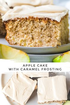 Apple Cake with Salted Caramel Frosting - A simple moist Apple Spice Cake (sheet cake recipe) topped with rich creamy salted caramel frosting. Single Serve Desserts, Sweet Desserts, Just Desserts, Dessert Recipes, Apple Spice Cake, Apple Cake, Cake Frosting Recipe, Frosting Recipes, Apple Recipes