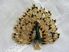 Vintage Peacock Brooch, Enamel Rhinestone, 2 in.