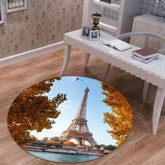 Autumn Eiffel 81 Non Lip Round Rug Room Mat Photo Carpet Bathroom Office Home Quality Living