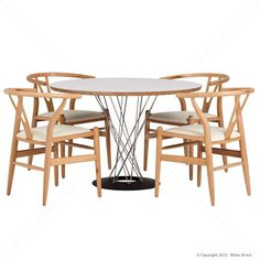 Designer Modern Noguchi Style Cyclone Dining Table and 4 Wishbone Chairs