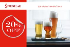 20% off Spiegelau Beer Classics for St Patrick's Day with code: STPATRICKS2014 - Offer ends 18/03/14 http://riedel.co.uk/index.php/spiegelau/beer-classics.html