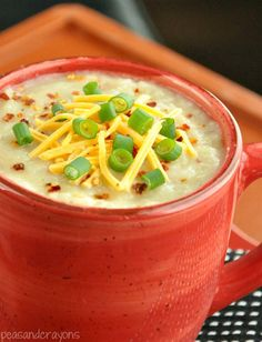 Veggie Loaded Baked Potato Soup (I made this tonight and it's UNBELIEVABLE!! I added one carrot grated because I needed to use it up lol, used a red onion for the onion. I also ended up sautéing the celery,onion, and carrot to soften and boiling the potatoes until almost done and then putting it in the crockpot on high for 2hrs...soo good!!!)good vegetarian recipe! Adapt for vegan also!