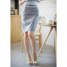 $9.01 Graceful OL Style Pencil Skirt For Women(With Belt)