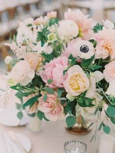 Perfect Blush and Blue Pastel Wedding at Catalina View Gardens Blush Wedding Centerpieces, Gold Wedding Theme, Whimsical Wedding, Wedding Colors, Wedding Flowers, Wedding Decorations, Blue Boutonniere, Boutonnieres, Blue Table Settings