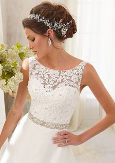 Wedding Gowns By Blu featuring 5204 Venice Lace Trimmed with Crystal Beading on Delicate Chiffon Colors Available: White/Silver, Ivory/Silver. Sizes Available: 2-28.