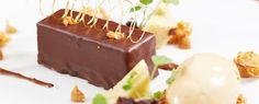 Ein himmlisch-süßer Genuss verfeinert mit salzigem Karamell-Eis, Karamell-Gel,Schokoladen-Schwamm, Schokoladen-Sauce, gerösteten Erdnüssen und einer Zuckerspirale. #caramel #icecream #chocolate #Schokolade #Eis #Erdnüsse geröstet #Gourmet #KERNenergie #MirkoGaul