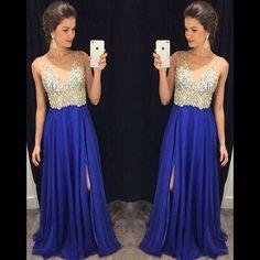 beaded prom dress, long prom dress, royal blue prom dress, chiffon prom dress, side slit evening dress, BD515