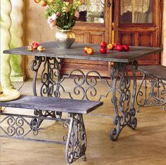 wrought iron table and seats Table And Chairs, Dining Table, Room Chairs, Accent Chairs For Sale, Wrought Iron Decor, Sewing Machine Tables, Lawn Furniture, Furniture Design, Iron Table