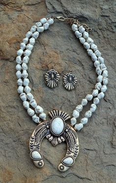 COWGIRL Bling Southwest White Turquoise SQUASH BLOSSOM Western Gypsy NECKLACE…
