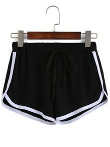 Contrast Draw Cord Waist Black Shorts 9.09€
