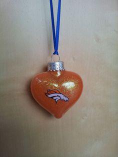 Denver Broncos w/ Color handmade glass Christmas ornament
