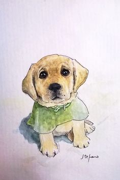 Water color cute dog