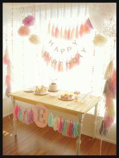 2歳のお誕生日パーティーアイデア☆フリンジガーランドでフードスペースを華やかに♡