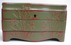 Jewel Box done with a raised using Wood Icing then painted with Chalk Paint® decorative paint by Annie Sloan:  Olive Green and Emperor's Silk