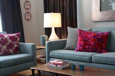 Fuchsia and grey living room