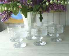 Set of 6 Vintage Iittala Finnish Glass Footed Dessert Bowls Champagne Coupe Glasses Senaattori by Timo Sarpaneva by lookonmytreasures on Etsy Champagne Coupe Glasses, Glass Dessert Bowls, Glass Vase, My Etsy Shop, Handmade, Stuff To Buy, Vintage, Beautiful, Design