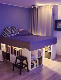 Bed made of 6 Kallax shelfs Cute Bedroom Decor, Room Design Bedroom, Room Ideas Bedroom, Home Room Design, Small Room Bedroom, Space Saving Bedroom, Kids Bedroom Designs, Small Rooms, Loft Bed Plans