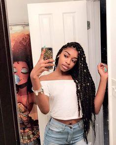 Love to a sista and her hair! That shower curtain tho! Black Girl Braids, Girls Braids, Kid Braids, Afro Braids, Long Box Braids, Cornrows, Twist Braid Hairstyles, Twist Braids, Curly Hair Styles